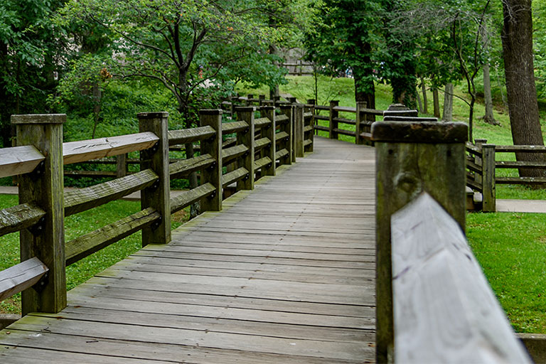 One of the bridges over the Jordan River on the Indiana University Bloomington campus.