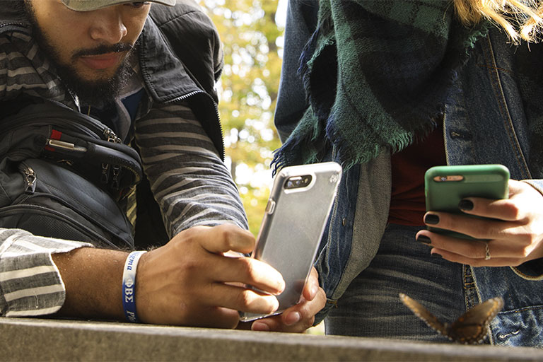 Students leaning on a concrete wall looking at their phones as if they are hunting for something.
