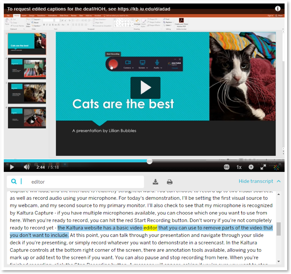 Screen capture of video with transcript
