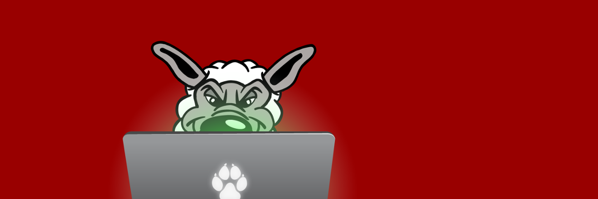 Cartoon image of a wolf in sheep's clothing at a laptop.